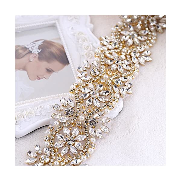 XINFANGXIU Rhinestone Belt Applique Crystal Applique for Bridal Wedding Dress