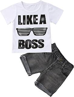d11f45124f05a WangsCanis 1-6 Ans Bébé Garçon Ensemble T-Shirt + Shorts en Denim Vêtements
