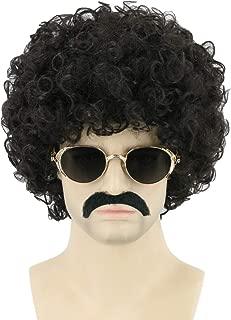 Topcosplay Unisex Men's or Women's Disco Hippie Wig & Moustache Short Afro Shaggy Curly Wig (Black)