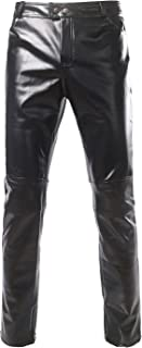 Mens PU Faux Leather Side Zipper Moto Jeans Style Metallic Pants/Straight Leg Trousers