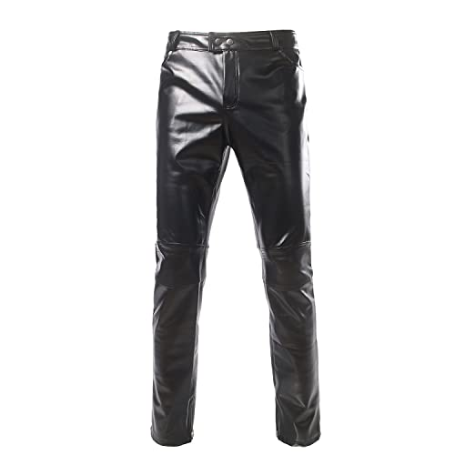 b9acbd7ea199a ZEROYAA Mens PU Faux Leather Side Zipper Moto Jeans Style Metallic Pants Straight  Leg Trousers