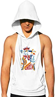 Workout Hooded Tank Tops Girl be Yourself Alien MenSleeveless Bodybuilding Tank Top Hooded with Pocket Cool and Muscle Cut