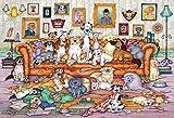 74Tdfc puzzle de madera para adultos 1000 piezas Ilustración de un lindo grupo de perros 75X50Cm Puzzle de madera para adultos de 1000 piezas