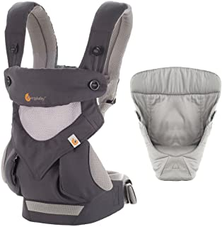 ERGObaby 套装?–?2项产品碳灰色全携带定位360婴儿背带方便舒适婴儿内袋灰色