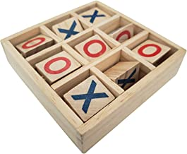 Gamie Wooden Tic-Tac-Toe Game - 4.75 Inch Game for Kids and Adults - Fun Indoor Game Night Activity - Educational Toy for Children - Unique Desk Decoration, Gift Idea