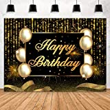 Aperturee Glitter Black and Gold Happy Birthday Photography Backdrop 7x5ft Golden Bokeh Sequin Spots Balloons Sparkle Dots Background Women Party Decorations Banner Photo Booth Studio Supplies Props