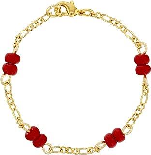 18k Gold Plated Red Bracelet for Baby Evil Eye Protection Newborn 4.5