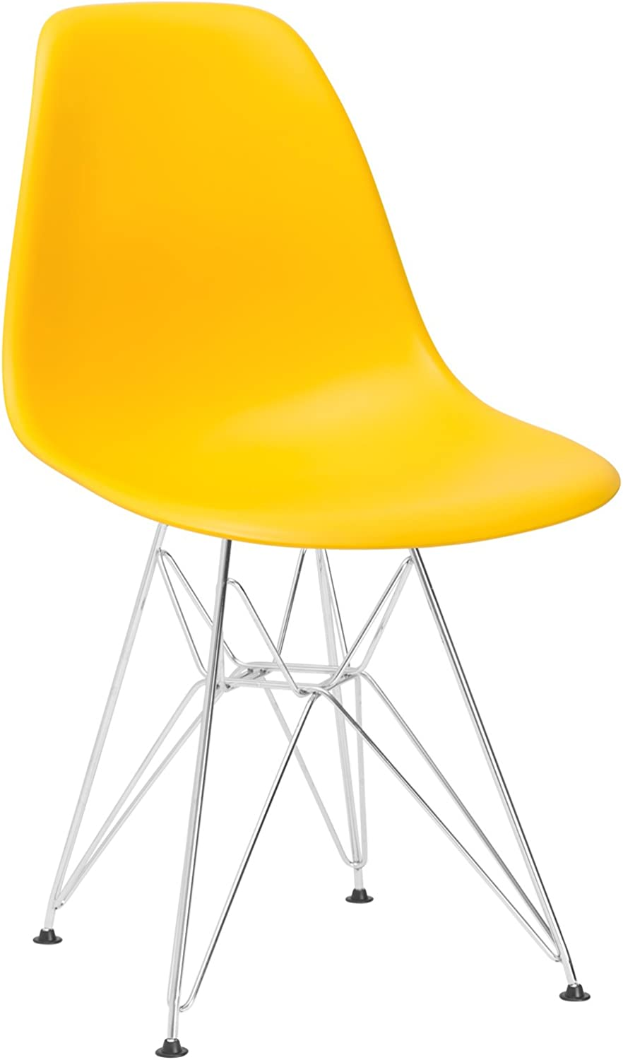 Poly and Bark Eames Style Molded Plastic Eiffel Side Chair, Yellow
