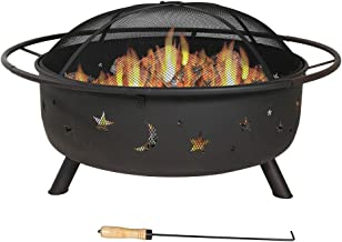 Sunnydaze Cosmic Outdoor Fire Pit - 42 Inch Large Bonfire Wood Burning Patio & Backyard Firepit for Outside with Round Spa...