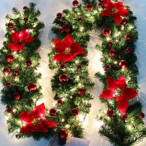 bennyuesdfd 2.7M Decorated Garland Illuminated with Lights Christmas Decoration Xmas Garland for Fireplace Stairs Red Baubles Flowers Xmas Tree Decoration