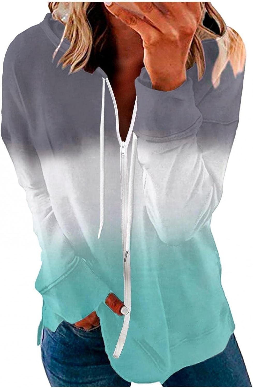 AODONG Women Zip Up Sweatshirts,Womens Color Block Casual Hoodies Jacket Long Sleeve Drawstring Stretchy Pullover