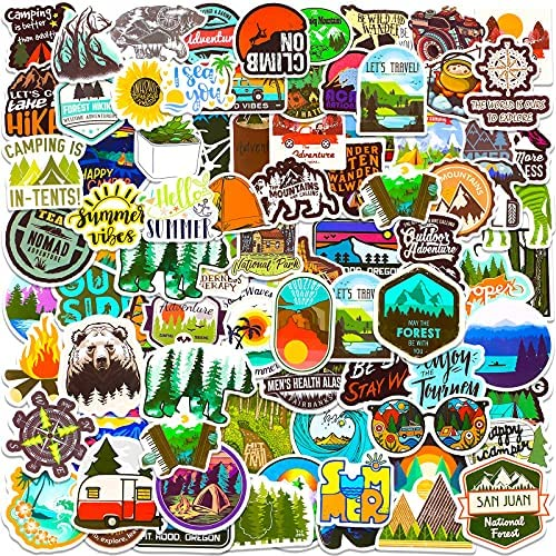 100 Pieces Outdoor Camp Adventure Stickers Hiking Camping Wilderness Vinyl Stickers Nature Hiking Decals Water Bottle Bike Luggage Mobile Phone Skateboard Guitar Waterproof Stickers for Teenage