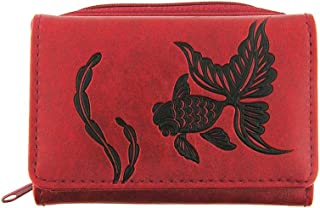 Embossed Goldfish Vegan/Faux Leather Trifold Small Wallet