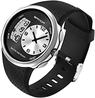 Analog Digital Watches,Dual Display Waterproof 50M Sports Watch with EL Backlight Alarm Stopwatch Hourly Chime Wrist Watch for Men