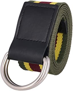 Damara Women's Stripe Canvas Web Belt Double D-Ring Waistband Metal Buckle.D