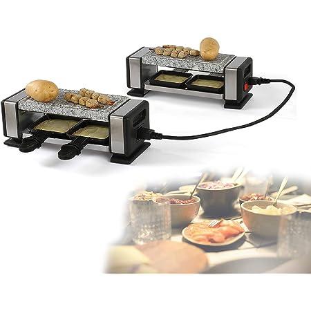 Raclette Grill Pierre chaude 2 à 4 personnes Grill de table Grill électrique Connexion câble (4 poêles, 700 W, revêtement antiadhésif, granit, avec poêles à fromage et spatules en bois)