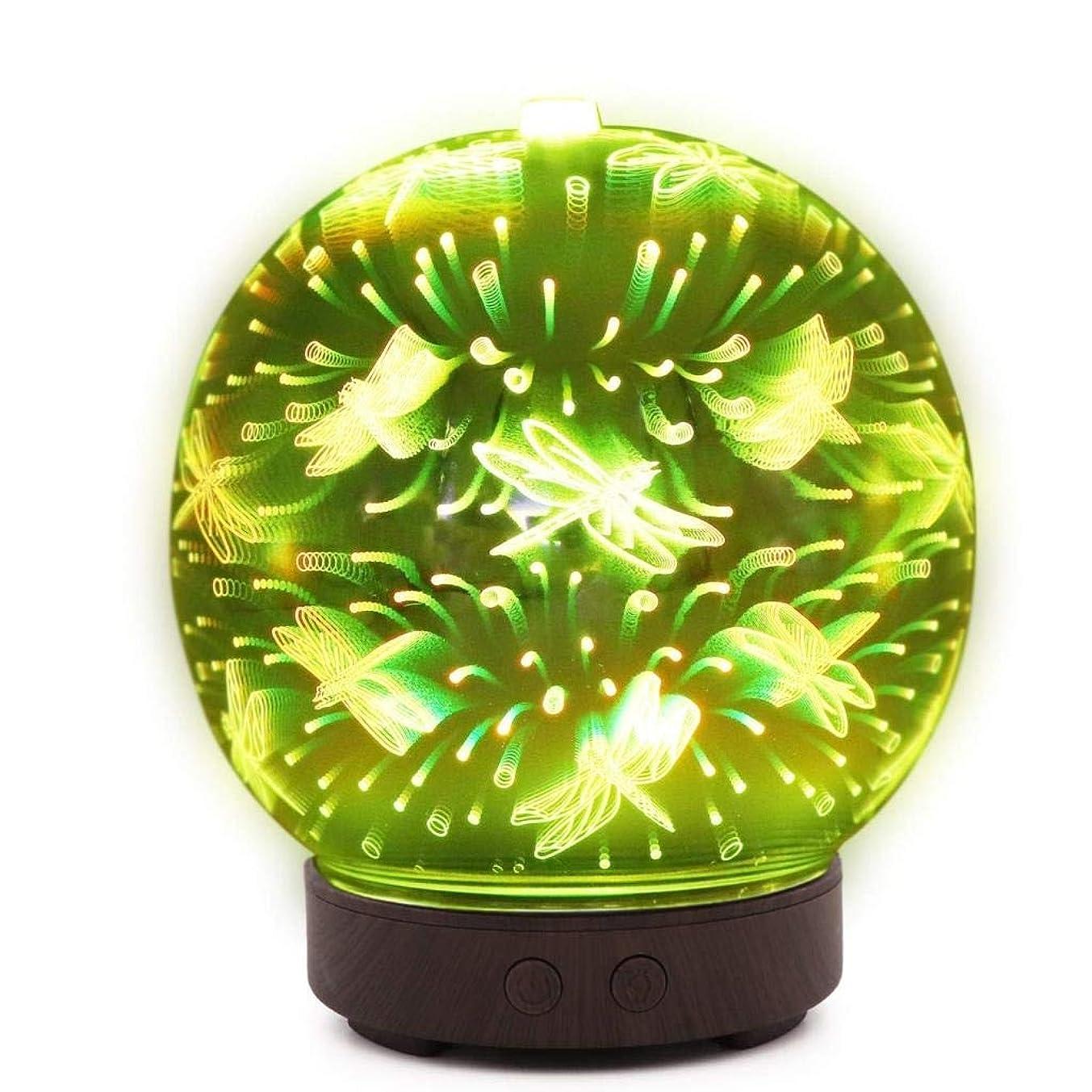 換気減る光の自動シャットオフ機能付き100mlミストディフューザー、7色LEDライト&大型水タンク - ホームヨガの寝室のための3D効果ナイトライトアロマ加湿器 (Color : Dragonfly Pattern)