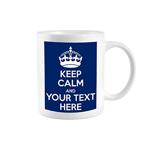 KEEP CALM AND CARRY ON PERSONALISED WITH ANY TEXT GIFT MUG CUP RETRO