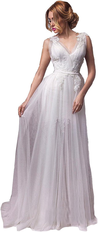 Irenwedding Women's Deep V Neck Lace Applique Tulle Ruffles Beach Wedding Dress