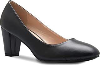Olivia K Womens Mary Jane Pumps - Low Heels - Two Color Vintage Retro Round Toe Shoe