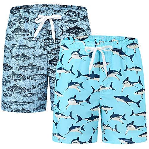 AIRIKE Strandshorts Jungen Schnelltrocknend Badehose Strand Druck Badeshorts mit Taschen 2 Pack-C S/DE 128-134