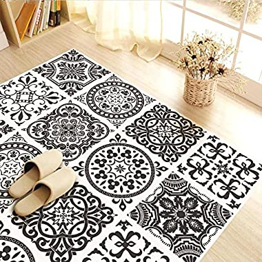 CaseFan 3D Floor Wall Sticker for Bathroom & Kitchen Antislip Decoration Removable Mural Decals Vinyl Art 39.37x39.37 Black and White Pattern