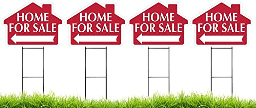 Home for Sale House Shaped Sign Kit with Stands - 4 Pack 4 Signs and 4 Stands Red) Durable Coroplast and Colorfast Ink 18 x 24 Made in The USA