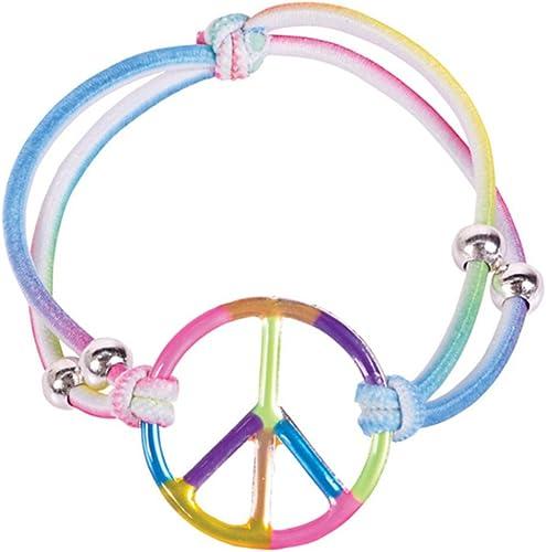 Girls Elastic Rainbow Peace Bracelets Girls Party Favors  Set of 12