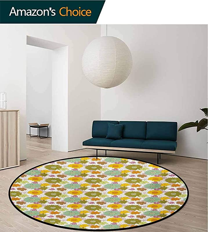 RUGSMAT Flower Anti Skid Area Rug Retro Colored Big And Small Blossoms Ornamental Fresh Nature Country Cottage Pattern Green Soft Area Rugs Diameter 24 Inch Multicolor
