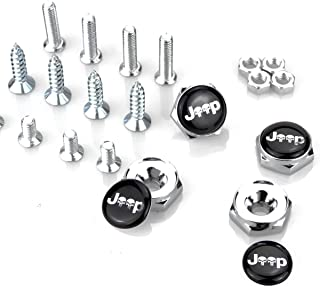 bleqi Chrome Metal Sports Style Car License Plate Frame Universal Bolt Screws For JEEP