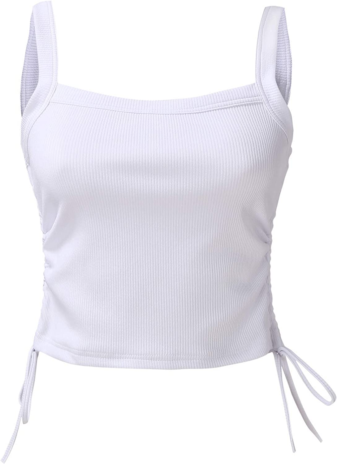 Tank Tops Sexy Drawstring Sleeveless Bare Backless Basic Vest Strap Womens Solid Camisole Crop Top