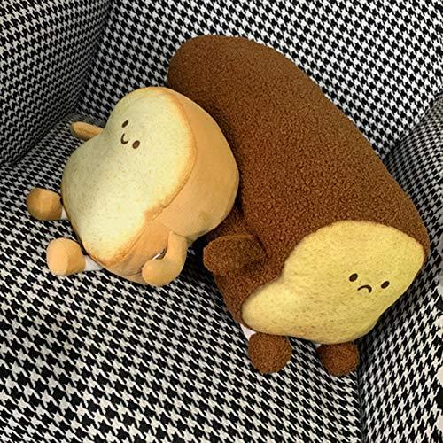 GRASARY Soft Toast Slice Bread Design Peluche relleno sofá dormitorio almohada decoración perfecto para regalo de cumpleaños infantil marrón oscuro S.