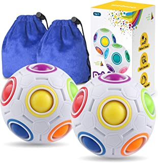 Coogam Rainbow Puzzle Ball Pack with Pouch Color-Matching Game Fidget Toy Stress Reliever Magic Ball Brain Teaser for Kids and Adults, Children, Boy, Girl Holiday Set of 2