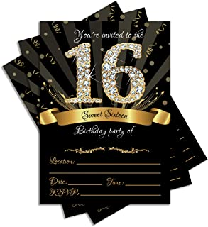25 Sweet Sixteen Black Double-sided 5x7 Party Invitations Kit with Gold Metallic Pen and Envelopes