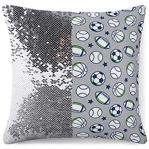 Funny Throw Pillow Cover Reversible Sequin Cushion Cases Boys Sport Sofa Bed Office Decor Gag Gifts Custom Pillowcase (16 in x 16 in) 40 cm x 40 cm