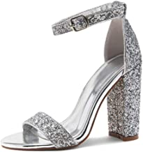 JIEEME Womens Fashion Square Heels Crystals Round Toe High Heels Buckle Strap Gold Silver Evening Party Pumps