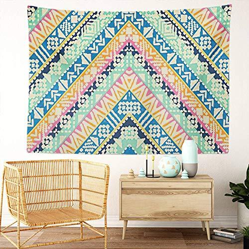 Y·JIANG Tapiz geométrico, diseño tribal en zigzag a rayas para el hogar, decoración de dormitorio grande, manta ancha para colgar en la pared para sala de estar, dormitorio, 60 x 50 pulgadas
