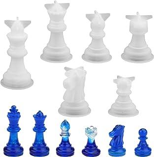 Moule en silicone d'échecs,6 Pcs 3D Checkers Résine Moule International Brouillons Pièce Échecs Résine Moule Silicone Épox...