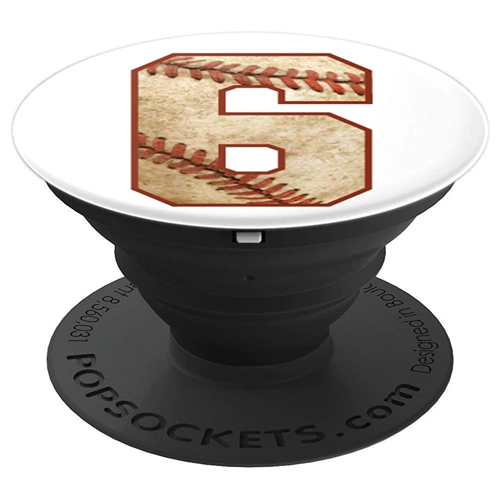 Player Number 6 Baseball Dirty Distressed Ball Sports Team - PopSockets Grip and Stand for Phones and Tablets