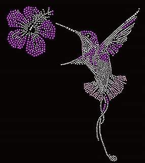 Hummingbird Rhinestone Iron On Heat Press Crystal MOTIF patch Hibiscus flower