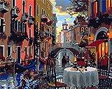 YOFUHOME Pintar por número Retro City DIY Pintura por números Kits Lienzo Pintura al óleo Set Cumpleaños Hogar Casa Deco - Sin Marco 40 * 50cm