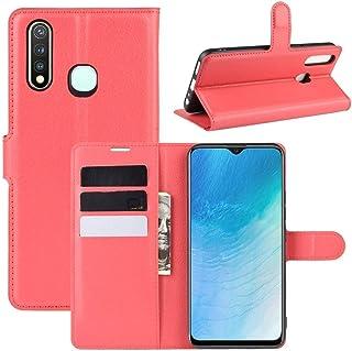 携帯電話ケースカバー ホルダー&カードスロット&財布とVIVO U3 / Y5s / Y19ライチテクスチャ水平用フリップ保護ケース (色 : Red)