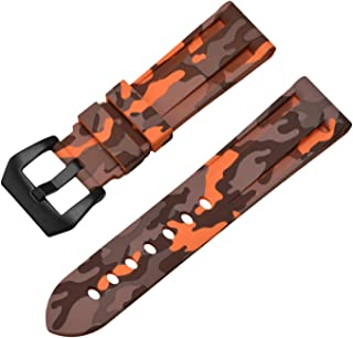 Replacement Rubber Watch Band Silicone Diver Camouflage Strap Waterproof Sport Wristband for Men Women