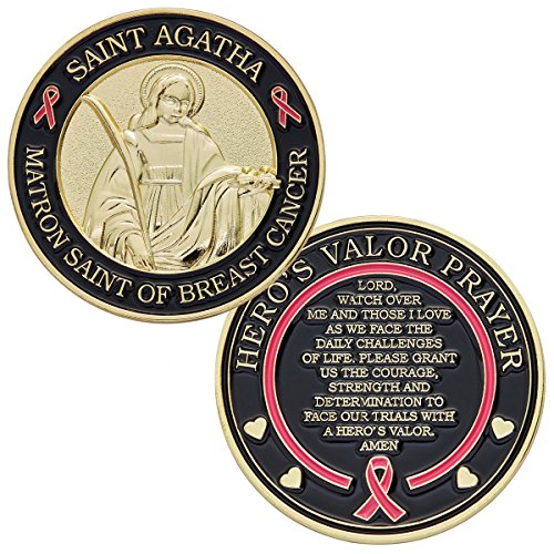 St. Agatha Matron Saint of Breast Cancer Challenge Coin with Hero's Valor Prayer 1-Pack (One Coin)