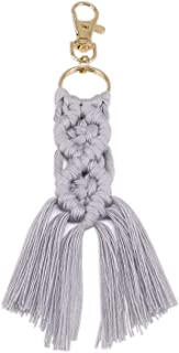 QTKJ Hand-woven Boho Macrame Keychain Charms Tassels Key Ring Gifts for Women Handbag Purse Car Key Decor (Light Grey)