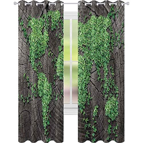 Cortinas opacas para dormitorio, tronco de árbol, fauna de bosque verde, bosque natural, imagen ambiental, 52 x L63, cortina opaca para sala de estar, gris