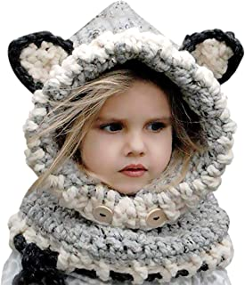 Kids Winter Hat, Baby Girls Boys Knit Hats Scarf Warm Fox Animal Caps Hood Scarves Earflap Snow Neck Warmer Cap with Ears for Autumn Winter (2-6 Years Old)