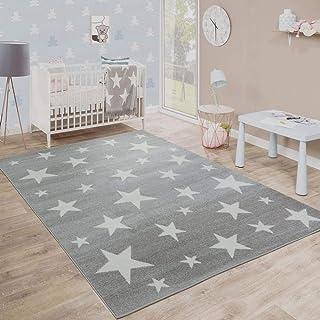 """Modern Short-Pile Children´s Rug Star Design Children's Room Star Pattern Grey White, Size: 6'7"""" Square"""