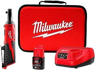 """Milwaukee M12IR-201B (3/8"""") IR-201B Sub 3/8in 12V 1 x 2.0Ah M12 Compact Impact Ratchet (1 x 2ah Li-ion Batteries, Charger,..."""
