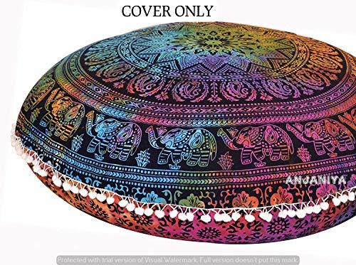 GANESHAM Indian Mandala tapijt, ronde zitplaatsen Mandala kussen, meditatie kussensloop, handgemaakte kussenbijlage, ronde mandala-kussens